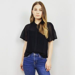 Madewell Black Pleated Button Down Top